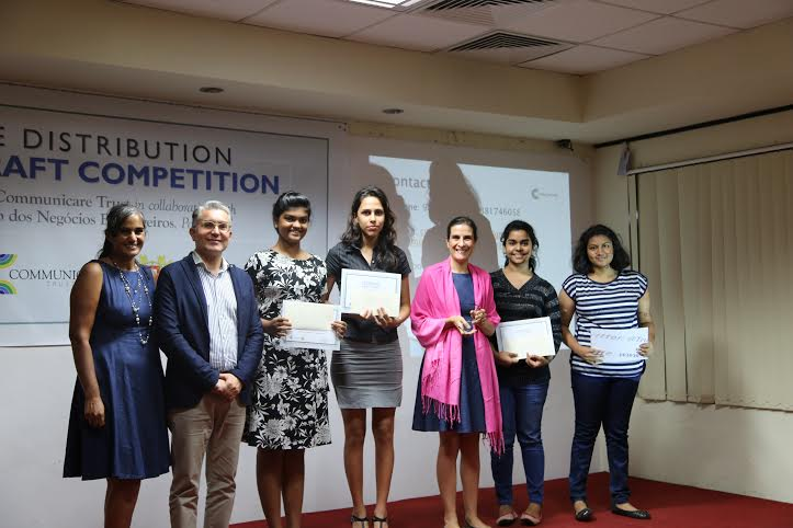 Virginia de Melo e Granjo, Cleodolinda do Remedios Pinto ,Serena Botelho and Jaqueline Dias Pereira walk away winners at the first edition of First Draft 2016, a Portuguese writing competition.