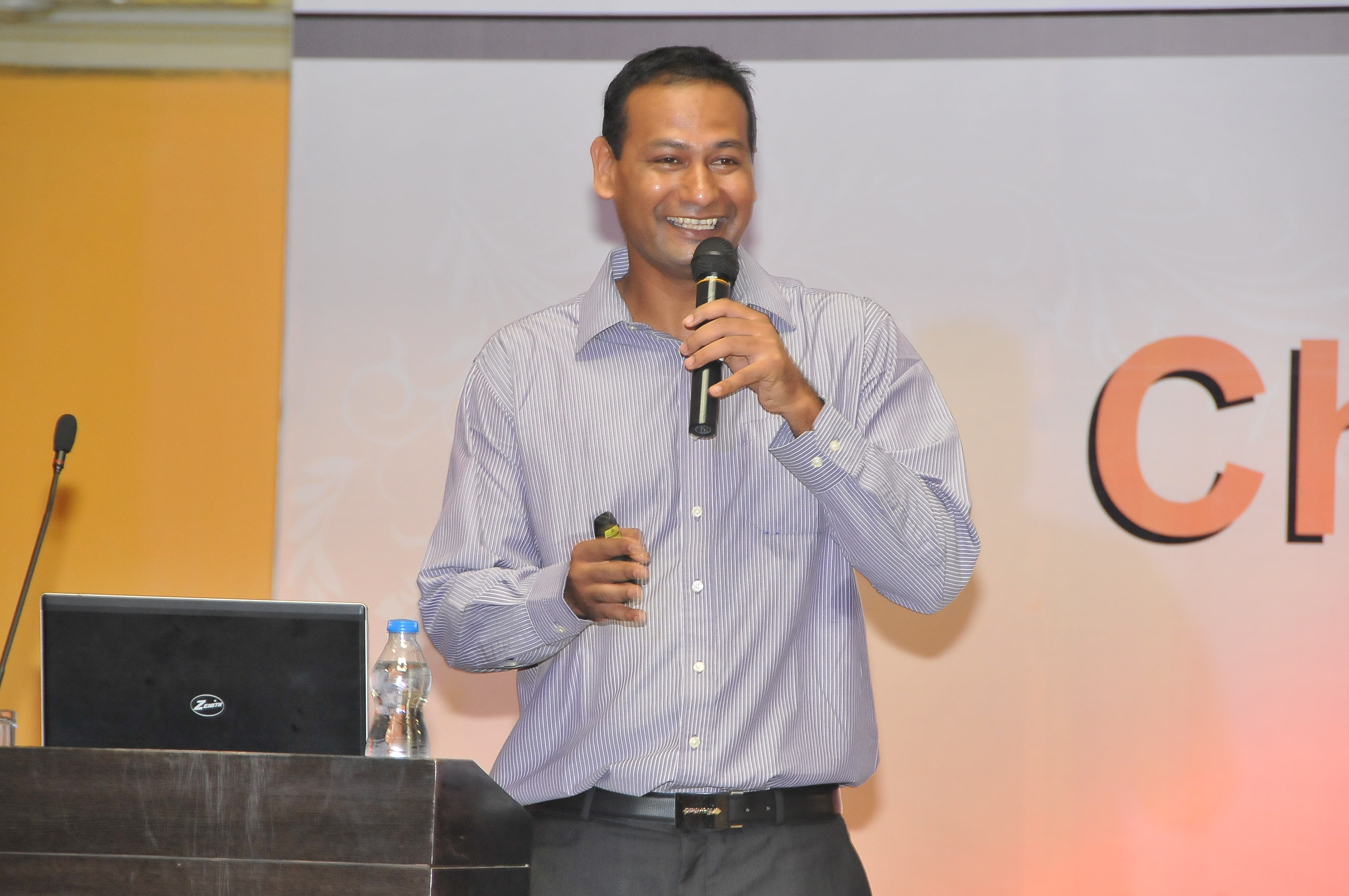 Abhijeet  Barse, CEO of Slum Soccer speaks at the first edition of Chowgule Conversations