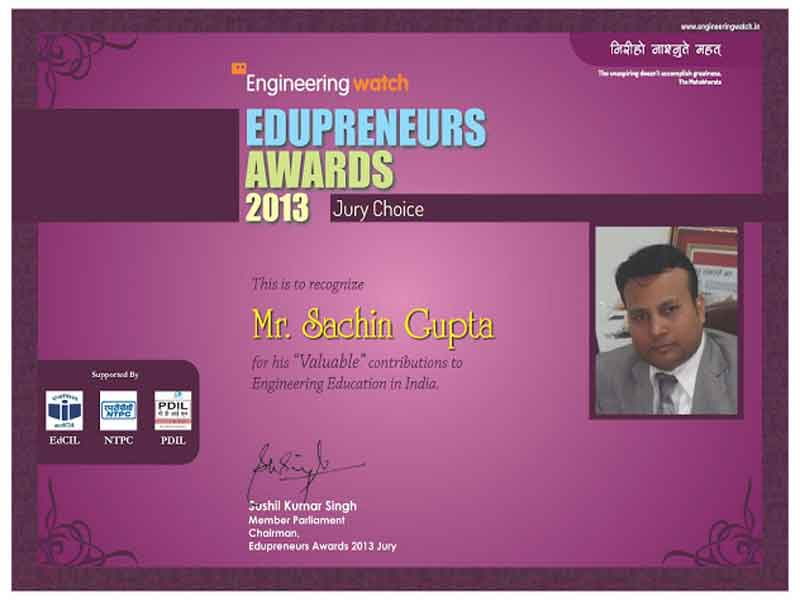Chairman Sanskriti Group, Mr. Sachin Gupta honored by Engineering Watch