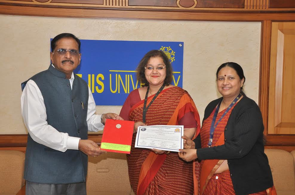 Dr. Radhika Sharma of The IIS University felicitated