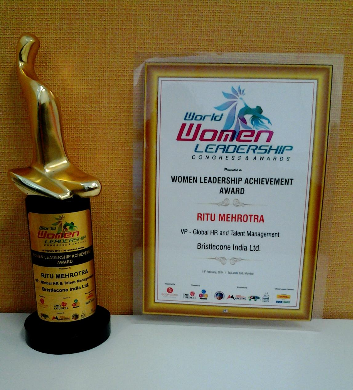 Ms. Ritu Mehrotra of Mahindra Group has won Women Leadership Achievement Award