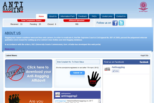 HRD Ministry launches Anti-Ragging website