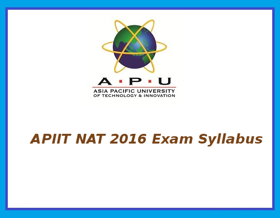 APIIT NAT 2016 Exam Syllabus