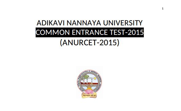 Adikavi Nannaya University Common Entrance Test (ANURCET) 2015 Syllabi