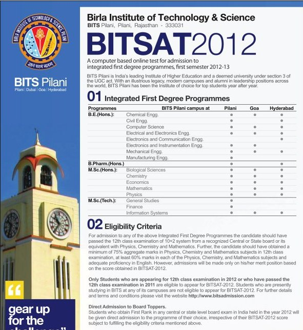 BITSAT 2012 exams from 10th May to 9th June 2012