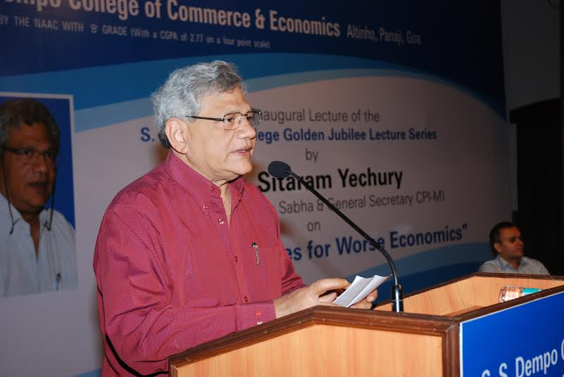 Human Capital of Goa needs to be Nurtured and Developed: Sitaram Yechury at the first Dempo College Golden Jubilee Lecture