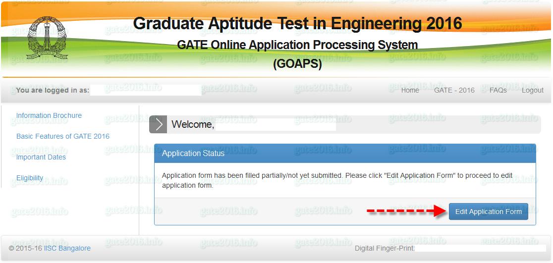 GATE 2016 Registration Step 2
