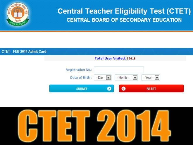 CTET 2014 Admit Card now available for download