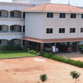 College Building Front View and Campus - College Building Front View and Campus