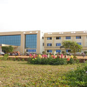 College Building Front View and Garden View - College Building Front View and Garden View