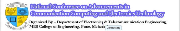 2nd National Conference On Advancements in Communication Computing and Electronics Technology, MES College of Engineering, February 5-6 2015, Pune, Maharashtra