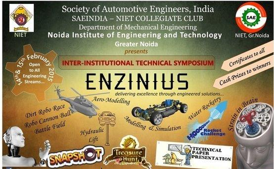 ENZINIUS 2015, Noida Institute of Engineering and Technology, February 14-15 2015, Greater Noida, Uttar Pradesh