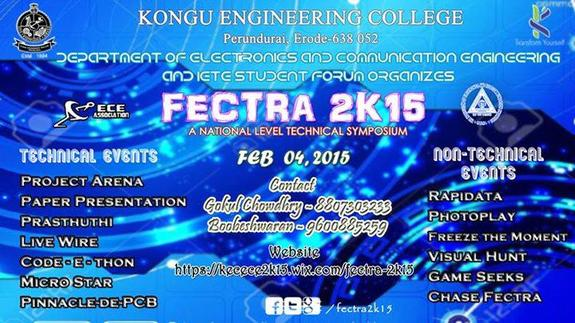FECTRA 2K15, Kongu Engineering College, February 4 2015, Erode, Tamil Nadu