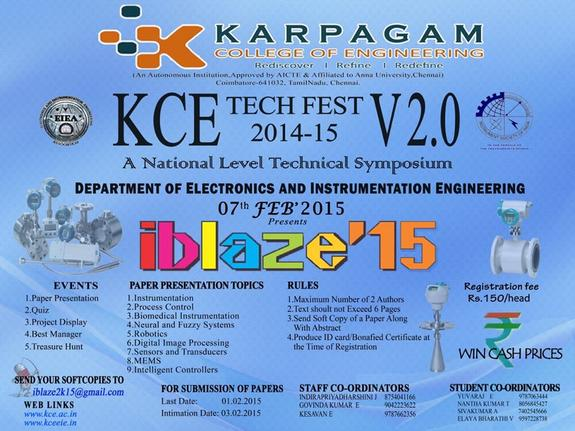 iblaze 15, Karpagam College of Engineering, February 7 2015, Coimbatore, Tamil Nadu