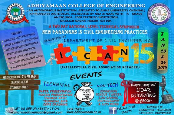 ICAN 15, Adhiyamaan College of Engineering Hosur, January 23-24 2015, Hosur, Tamil Nadu