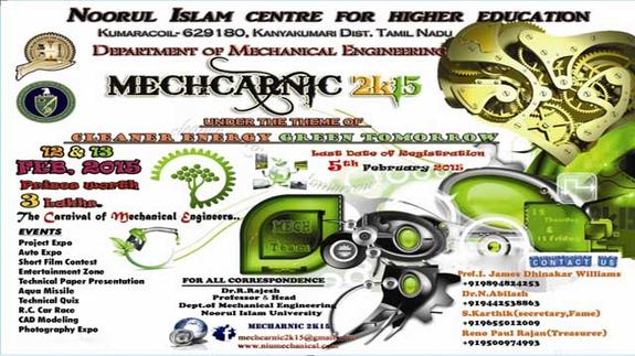 Mecharnic 2K15, Noorul Islam University, February 12-13 2015, Kumaracoil, Tamil Nadu