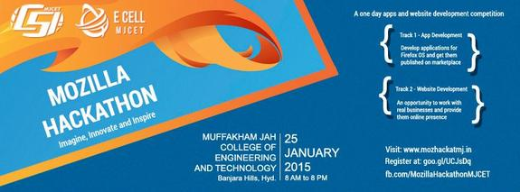 Mozilla Hackathon, Muffakham Jah College of Engineering and Technology, January 25 2015, Hyderabad, Telangana