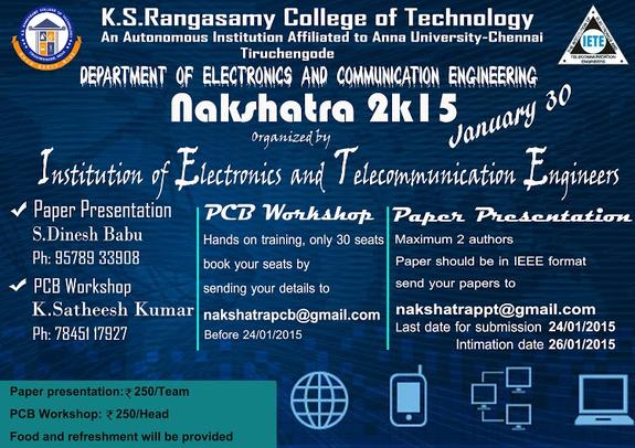 Nakshatra 2k15, KS Rangasamy College of Technology, January 30 2015, Namakkal, Tamil Nadu