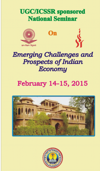 National Seminar to be held on Emerging Challenges and Prospects Of Indian Economy, Jai Narain Vyas University, February 14-15 2015, Jodhpur, Rajasthan