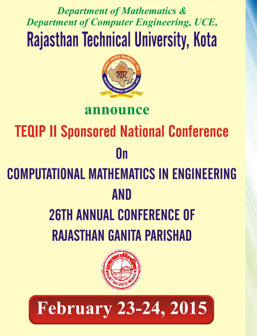 NCCME-RGP-2015, Rajasthan Technical University, February 23-24 2015, Kota, Rajasthan