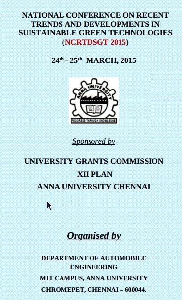 NCRTDSGT 2015, Anna University, March 24 -25 2015, Chennai, Tamil Nadu