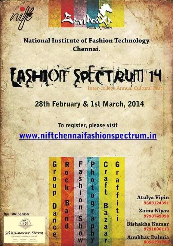 NIFT SPECTRUM 2015, National Institute of Fashion Technology, February 28- March 1 2015, Chennai, Tamil Nadu