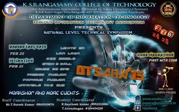 UTSAHA 2015, K.S.Rangasamy College of Technology, February 24 2015, Namakkal, Thiruchengode, Tamilnadu