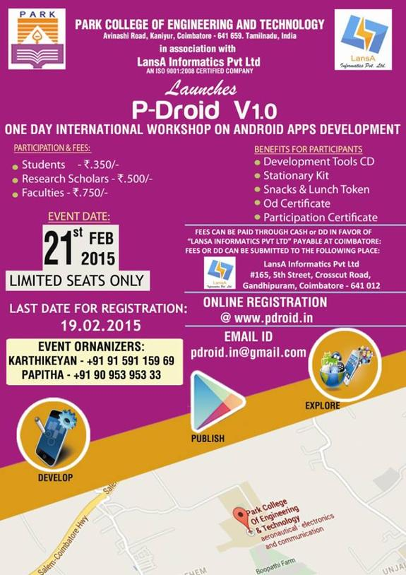 P-DROID V1.0, Park College of Engineering and Technology, February 21 2015, Coimbatore, Tamil Nadu