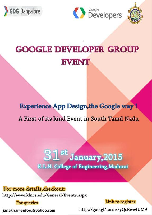Google Developer Group Event, KLN College of Engineering, January 31 2015, Madurai, Tamil Nadu
