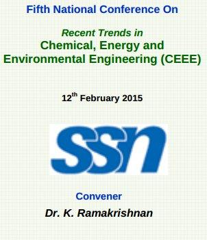 National Conference CEEE, SSN College of Engineering, 12 Feb 2015, Chennai