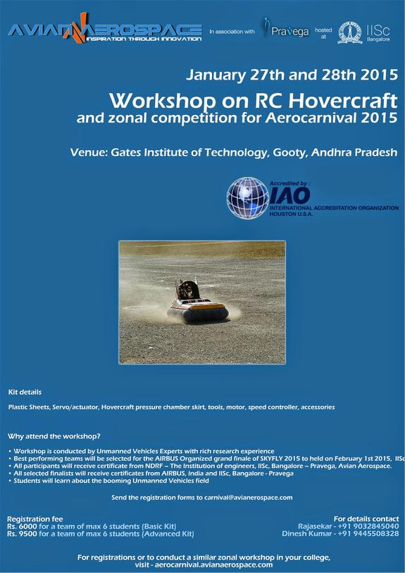 TWO DAY WORKSHOP and COMPETITION ON RC HOVERCRAFT (Zonal Event for SKY FLY Competition), Gates Institute of Technology, January 27-28 2015, Gooty, Andhra Pradesh