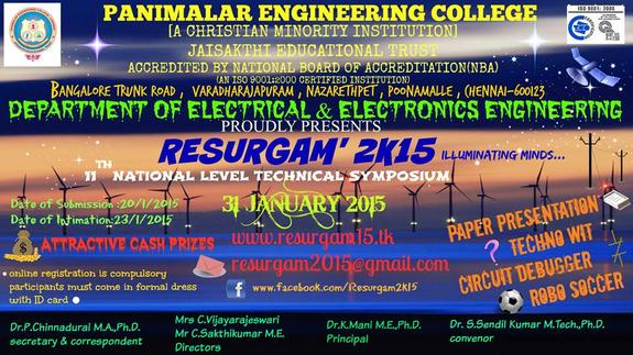 Resurgam 2k15, Panimalar Engineering College, January 31 2015, Chennai, Tamil Nadu,
