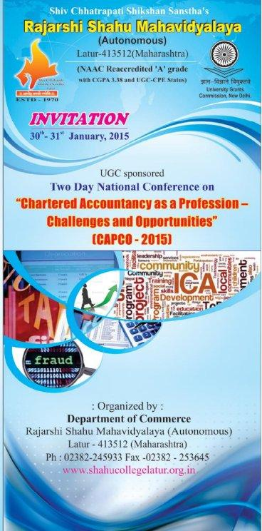 Two Day National Conference On Chartered Accountancy as a Profession Challenges And Opportunities, Rajarshi Shahu Mahavidyalaya, January 30-31 2015, Latur, Maharashtra