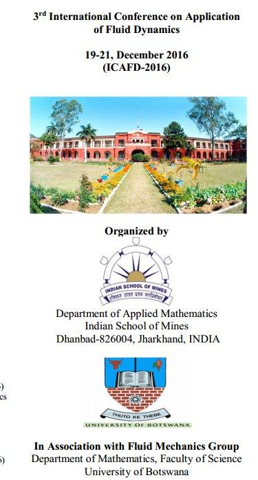 ICAFD-2016, Indian School of Mines, December 19-21 2015, Dhanbad, Jharkhand