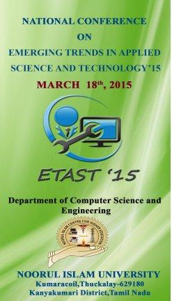 National Conference On Emerging Trends in Applied Science And Technology 15, Noorul Islam University, March 18 2015, Thuckalay, Tamil Nadu