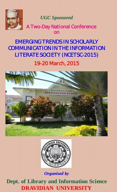 NCETSC 2015, Dravidian University, March 19-20 2015, Kuppam, Andhra Pradesh