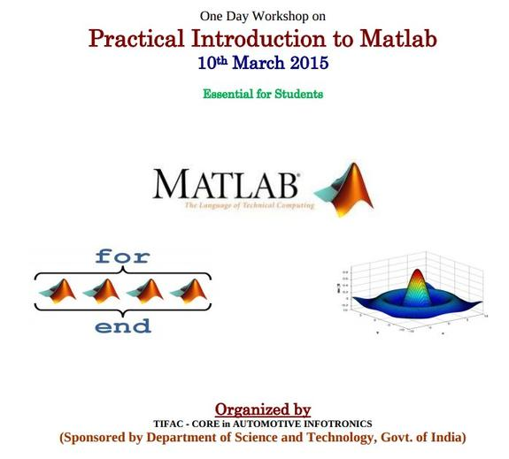 One Day Workshop on Practical Introduction to Matlab, VIT University, March 10 2015, Vellore, Tamil Nadu