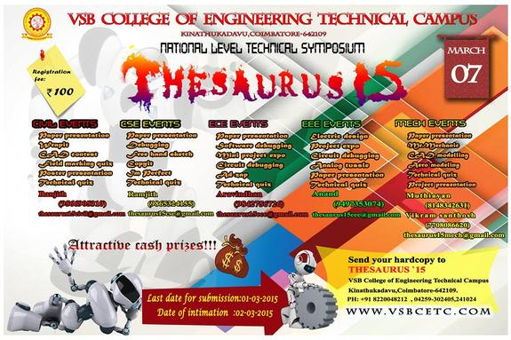 Thesaurus 2015, VSB College Of Engineering Technical Campus, March 7 2015, Coimbatore, Tamil Nadu