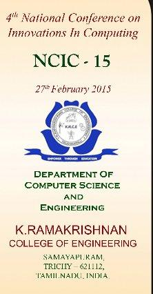 NCIC 2015, K.Ramakrishnan College of Engineering, February 27 2015, Trichy, Tamil Nadu