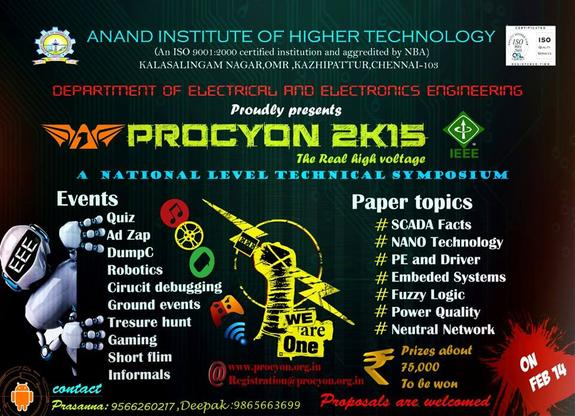 Procyon 2k15, Anand Institute of Higher Technology, February 14 2015, Chennai, Tamil Nadu