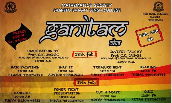 Ganitam 2015 - Quiz, Shaheed Bhagat Singh College, Feb18-19 2015,  New Delhi, Delhi