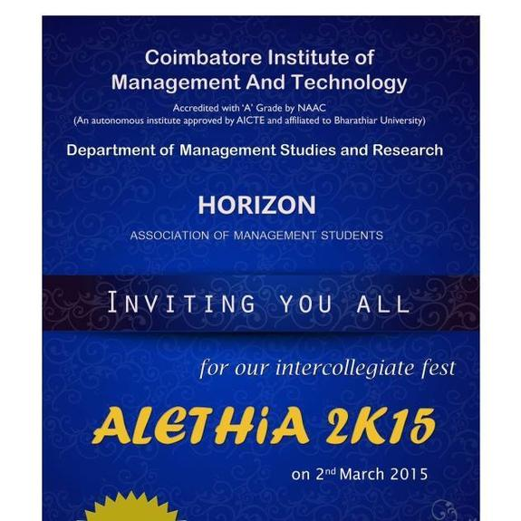 ALETHIA 2K15, Coimbatore Institute of Management and Technology, March 2 2015, Coimbatore, Tamil Nadu