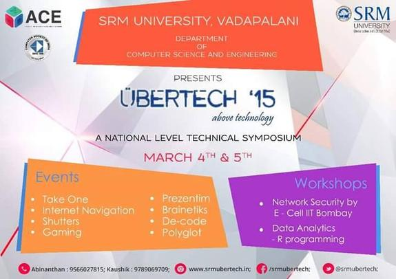 Ubertech 2015, SRM University, March 4-5 2015, Chennai, Tamil Nadu