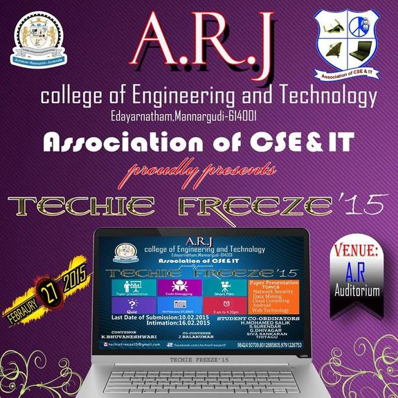 TECHIE FREEZE15, ARJ College of Engineering and Technology, February 27 2015, Tiruvarur, Tamil Nadu