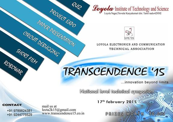 TRANSCENDENCE 15, Loyola Institute of Technology and Science, February 17 2015, Nagercoil, Tamil Nadu