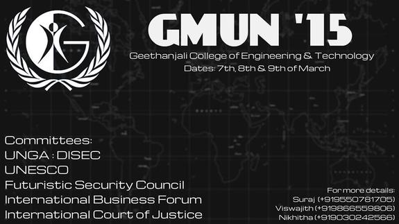 GMUN 2015, Geethanjali College of Engineering and Technology, March 7-9 2015, Rangareddi, Telangana