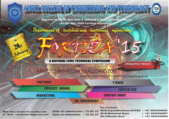 Fortiza 2015, Angel College of Engineering and Technology, 20 Feb 2015, Tiruppur