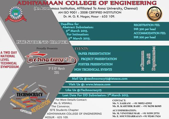 TECHNOCRACY  2015, Adhiyamaan College of Engineering, March 9-10 2015, Hosur, Tamil Ndu
