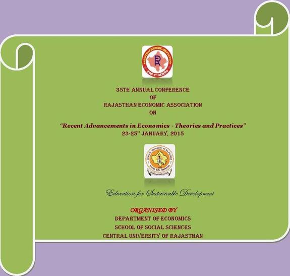 Economania 2015, Central University of Rajasthan, April 7-9 2015, Kishangarh, Rajasthan