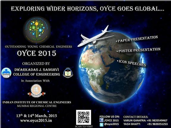 Outstanding Young Chemical Engineers OYCE 2015, DJ Sanghvi College of Engineering, March 13-14 2015, Mumbai, Maharashtra
